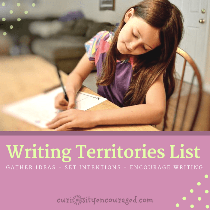 Create a Writing Territories List- Encourage the Love of Writing