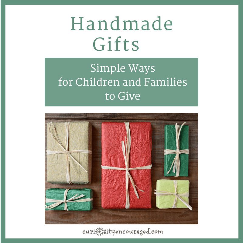 Simple ways for families and children to make handmade gifts and give the gift of love.